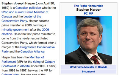 Stephen Harper's Wikipedia page, which features a photo of the prime minister at the World Economic Forum Annual Meeting Davos 2010.