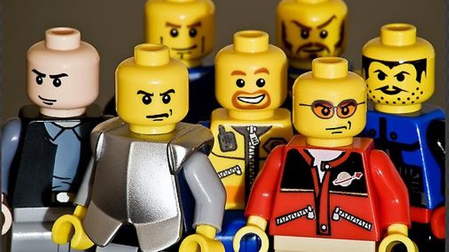 Lego has introduced a wider variety of characters since the 1990s, but many of them are angry, researchers found. Source: Supplied
