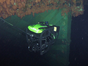 A remote operated vehicle (ROV) operated by Canadian Armed Forces personnel takes a video of the Breadalbane's stern. The Breadalbane sank in 1853