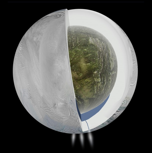 Cutaway showing what may be happening below Enceladus' frozen exterior. Image: NASA/JPL-Caltech