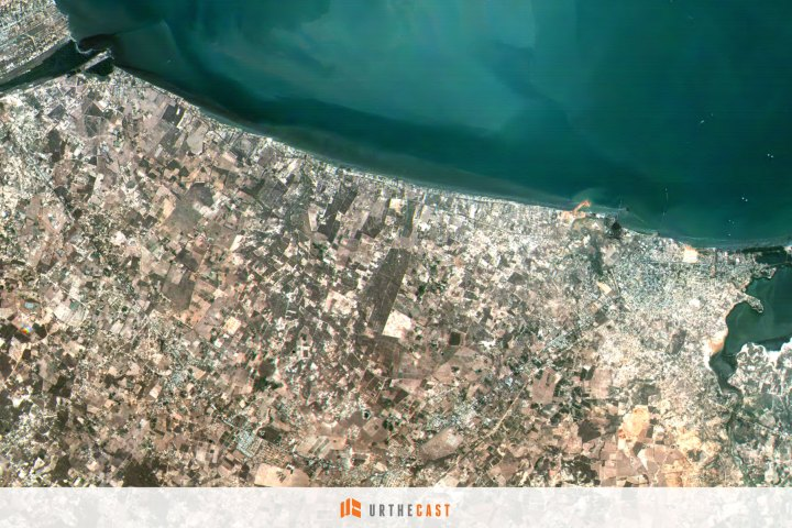 One of two images taken using Urthecast's Theia medium-resolution aboard the International Space Station shows the urban area surrounding Santa Cruz de Mara, Venezuela.