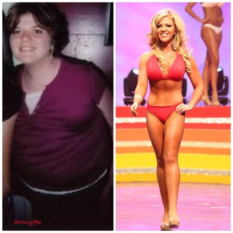 Transformation: Keli Kryfko, 23, weighed more than 200lbs when she was at middle school (left) but now she is the current Miss South Texas titleholder after cruel taunts inspired her to lose weight (right)