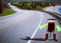 Hitchbot, seen in an artist's conception, is being built by communications researchers at Ryerson University in Toronto and McMaster University in Hamilton. It will try to hitch its first ride from the Nova Scotia College of Art and Design on July 27. (HitchBOT/Instagram)