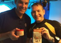 Mmm. Maple syrup. It doesn't get more Canadian than that. Jeremy Hansen got a surprise visit and a treat from diver Major Jonathan Knaul of the Royal Canadian Air Force.