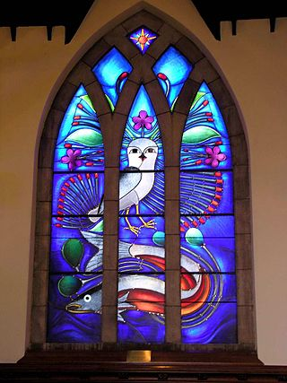 Ansgar Walk - Own work Window of John Bell Chapel (Appleby College, Oakville near Toronto; designed in 2004). Kenojuak Ashevak: Window at John Bell Chapel of Appleby College in Oakville (Ontario) near Toronto (Canada)