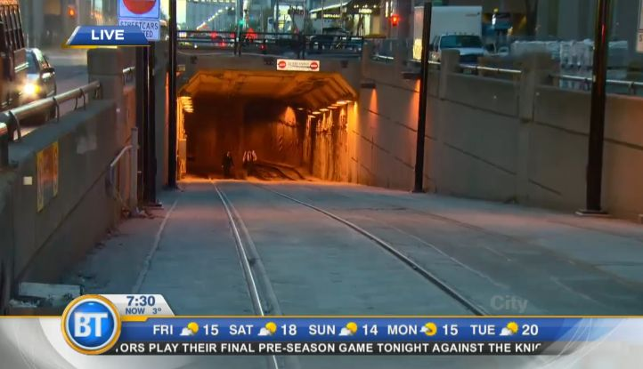 BREAKING:  car crashes into subway tunnel in downtown toronto