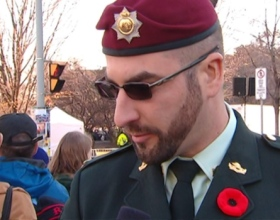 The Defence Department says it can find no indication that Franck Gervais, who spoke with CBC on Remembrance Day wearing a uniform and medals, is a member of the military. (CBC)
