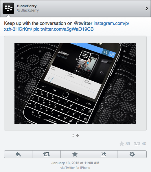 Blackberry Account Tweets Update Using iPHone App