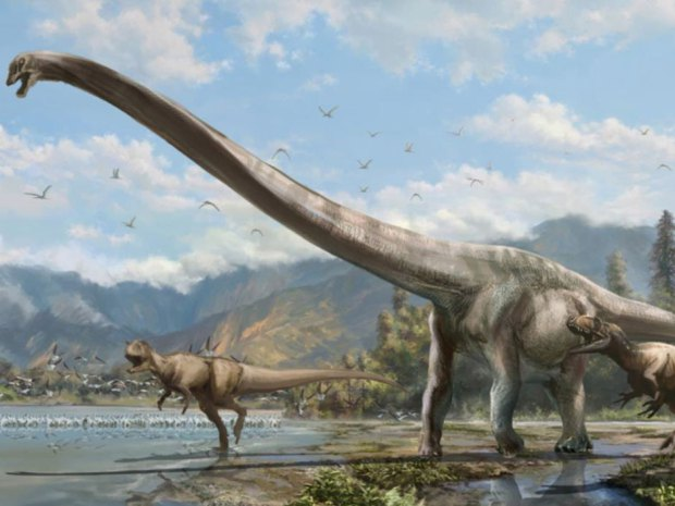A new species of dinosaur with a neck half the length of its body, shown in this artist's rendition, has been discovered by University of Alberta paleontologists in China.