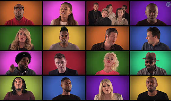 Jimmy Fallon lip sync battle:  A Superstar Group Helps Fallon Out