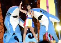 Kevin Mazur—WireImage Recording artist Katy Perry performs onstage during the Pepsi Super Bowl XLIX Halftime Show at University of Phoenix Stadium on February 1, 2015 in Glendale, Arizona.