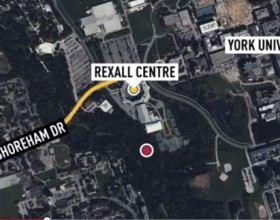 The tunnel, marked above with a red circle, is adjacent to the Rexall Centre, Canada's national tennis facility