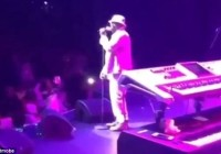 Singer Bobby Brown was performing at the Verizon Theatre in Dallas on Saturday night when he told the stunned audience that 'Bobbi is awake. She's watching me'