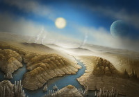 An Artist's concept of the surface of the newfound exoplanet Kepler-452b, a planet about 60 percent wider than Earth that lies 1,400 light-years away. Kepler-452b is likely rocky, and it orbits its sunlike star at the same distance Earth orbits the sun. Credit: SETI Institute/Danielle Futselaar