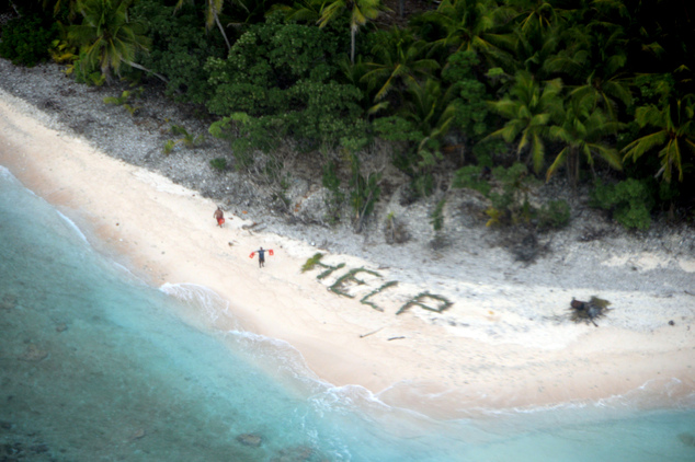 rescued island castaways: Castaways spell 'help' with palm branches (PHOTO)