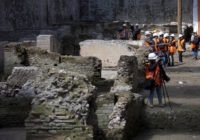 Media visit the site where ancient Roman ruins were discovered during work on a new underground line, in Rome, Monday, May 16, 2016.
