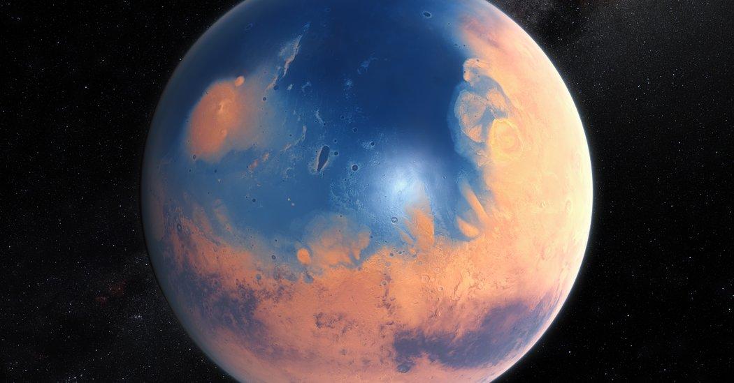Impact crater Mars tsunamis